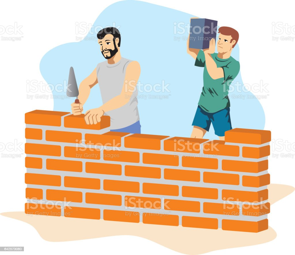 Illustration Depicting People Bricklayers Building A Wall At