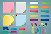 Illustration depicting various sheets for notes, fixed with drawing pins or staples.Vector.