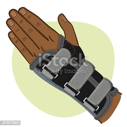 istock Illustration depicts a wrist hand, tendonitis, afrodescendent. Ideal for training and institutional materials 873375622