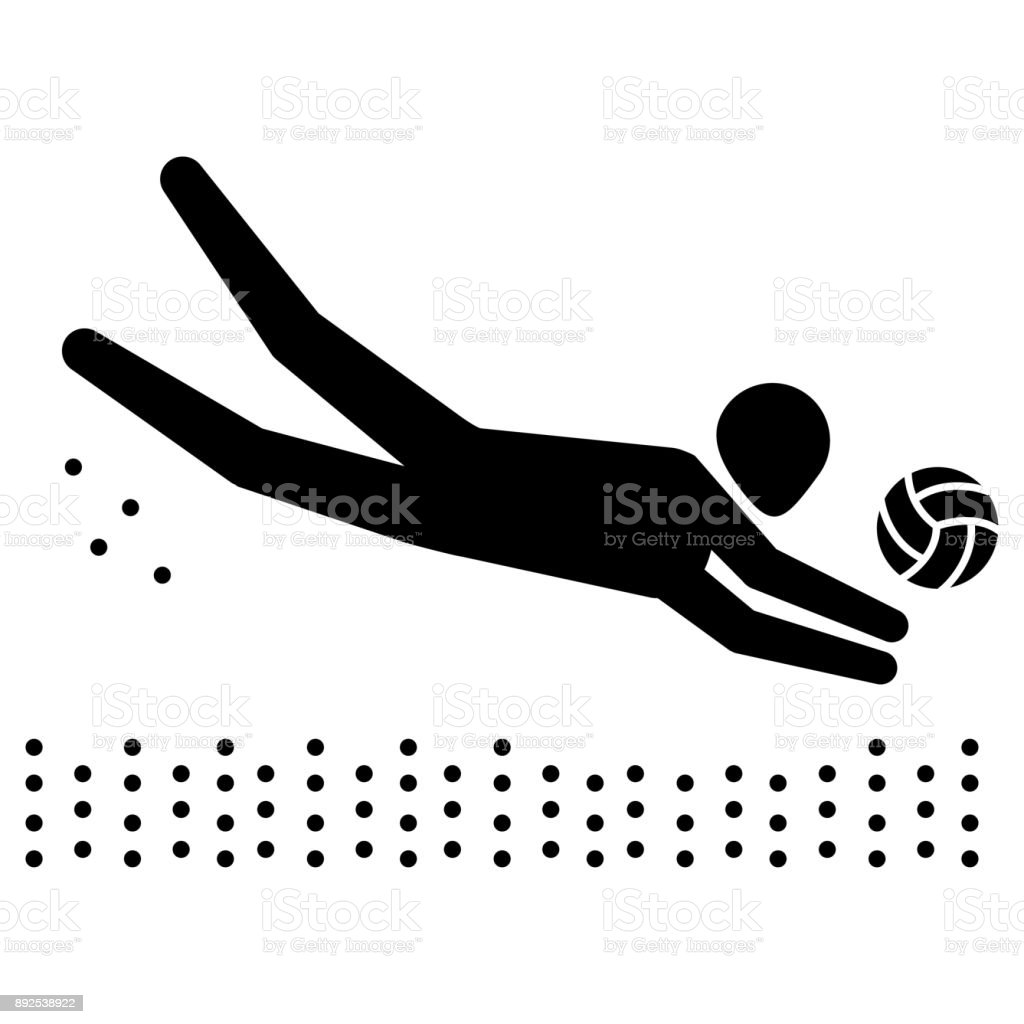 Illustration depicts pictogram of beach volleyball sport, game of doubles. Ideal for sports and institutional materials vector art illustration