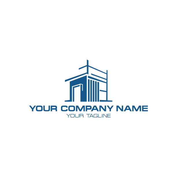 ilustraciones, imágenes clip art, dibujos animados e iconos de stock de símbolo de arquitectura casa de diseño de ilustración sobre fondo blanco - logotipos de bienes inmuebles