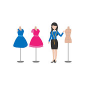 illustration of the profession of a fashion designer who works to make clothes and dresses designs vector isolated white background