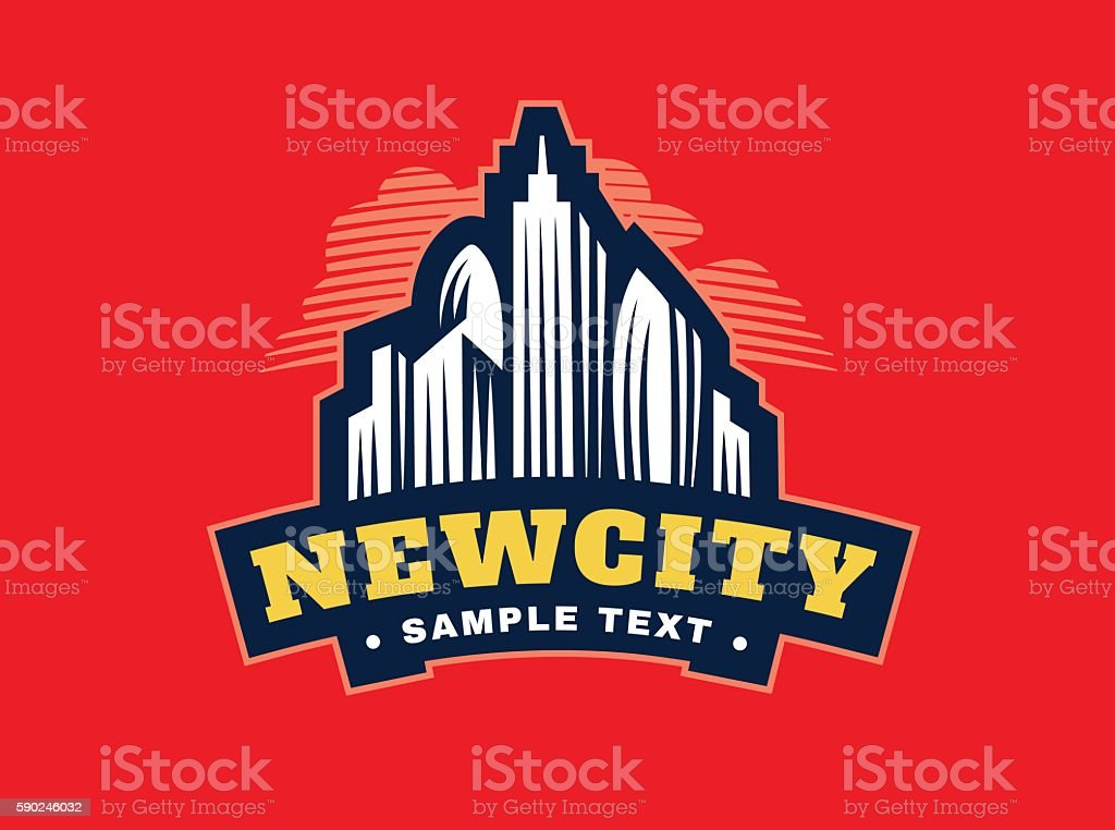 Illustration emblem skyscrapers on red background vector art illustration