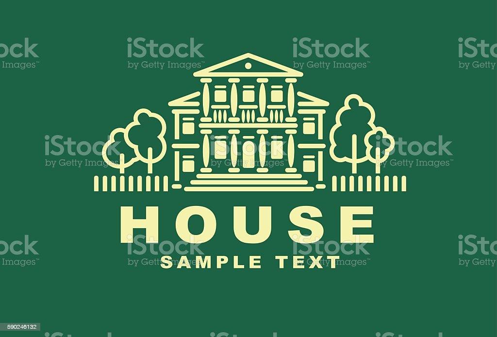 Illustration emblem with the house. vector art illustration