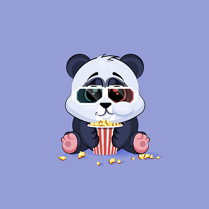 Illustration Emoji character cartoon Panda chewing popcorn, watching movie in