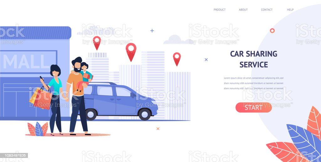 Illustration Family Rent Car near Shopping Mall