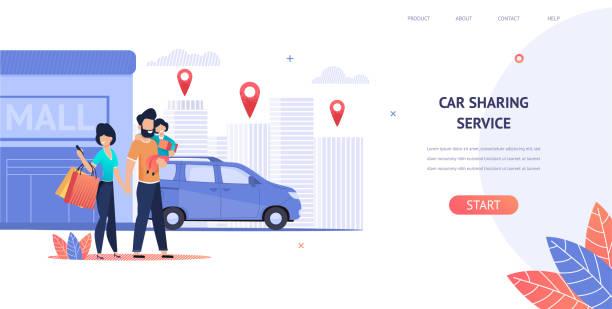 ilustrações de stock, clip art, desenhos animados e ícones de illustration family rent car near shopping mall - carro na rua