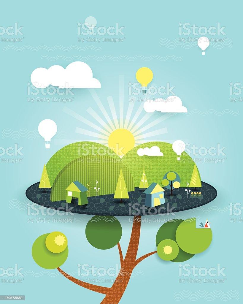 イラストのファンタジーのツリーハウスブルースカイの背景 - 2015年の