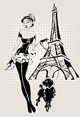 Pop Art black and white illustration Fashion woman near Eiffel Tower with little dog, hand drawn illustration Background pin-up model