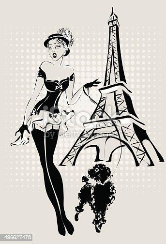 illustration fashion woman near eiffel tower with little
