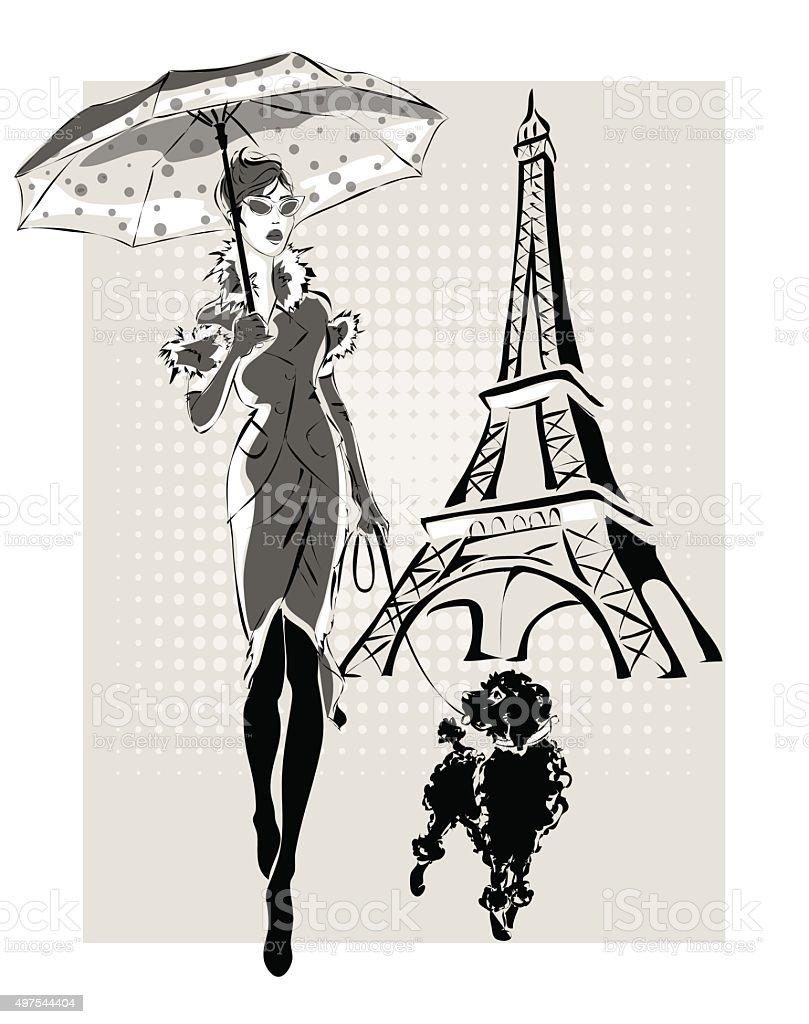 Ilustração de Moda mulher perto Torre Eiffel com pouco de Cachorro - ilustração de arte em vetor