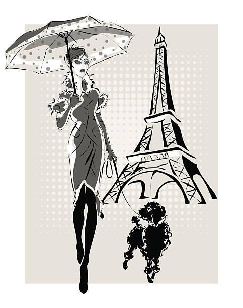 ilustraciones, imágenes clip art, dibujos animados e iconos de stock de ilustración de la moda de mujer cerca de la torre eiffel con little dog - moda parisina