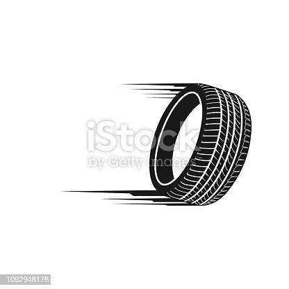 istock Illustration fast tires in black color logo concept design template 1092948176