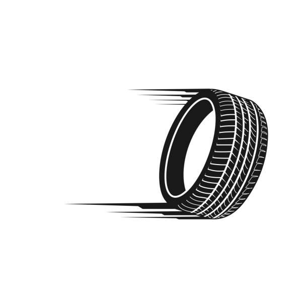ilustraciones, imágenes clip art, dibujos animados e iconos de stock de ilustración rápida neumáticos en plantilla de diseño de concepto de logo color negro - tires
