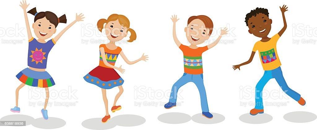 royalty free cartoon of a little black kids dancing clip art vector rh istockphoto com clipart kids dancing People Dancing Clip Art