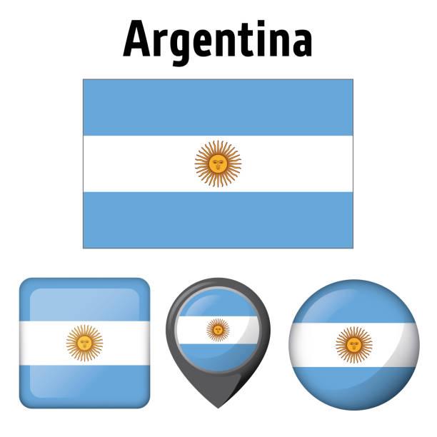 Bandera de la ilustración de la Argentina y varios iconos. Ideal para catálogos de materiales institucionales y de la geografía - ilustración de arte vectorial