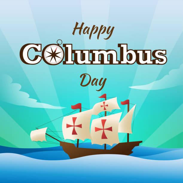 i̇llüstrasyon düz vektör mutlu columbus gün arka plan veya afiş grafik - columbus day stock illustrations