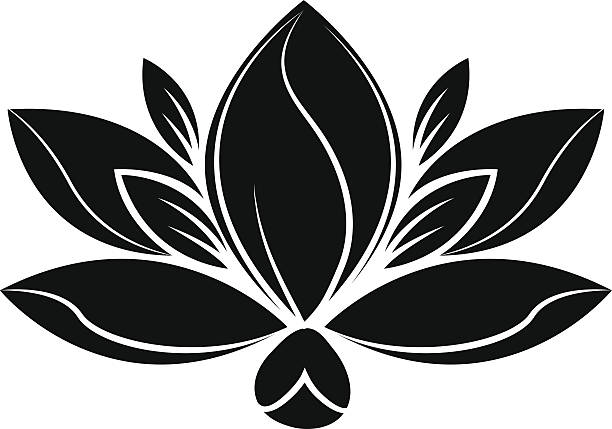 Royalty Free Lotus Flower Black And White Clip Art, Vector Images ...