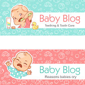 Illustration for baby blog. Teething and toothcare