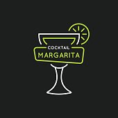 Illustration for bar menu alcoholic cocktail Margarita. Vector line drawing of a Drink on a background