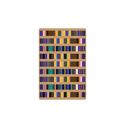 Illustration for bookshelf or textbook with book many colors in ibrary at school ror university for education