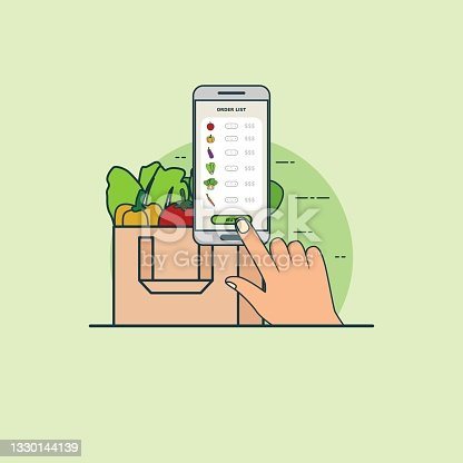 Illustration for buy online vegetable with smartphone concept. Design vector with flat style