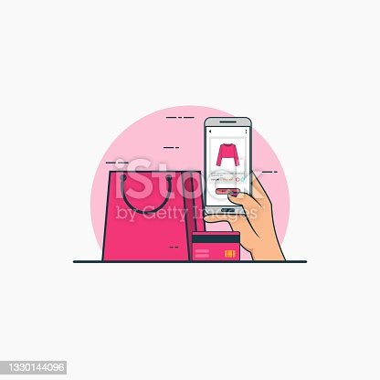 Illustration for buy online woman clothes with smartphone concept. Design vector with flat style