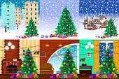 Illustration for christmas. Christmas tree, gifts, snowflakes. 6 elements set.