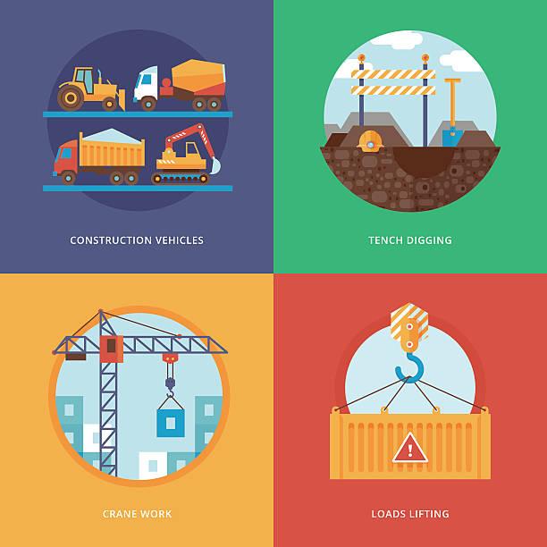 bildbanksillustrationer, clip art samt tecknat material och ikoner med illustration for construction vehicles, tench digging, crane work, loads lifting. - construction workwear floor
