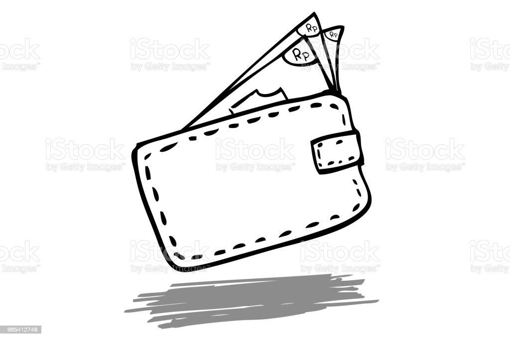 例證為消耗的生活樣式, 盾金錢在錢包, 被隔絕在白色 - 免版稅付錢圖庫向量圖形