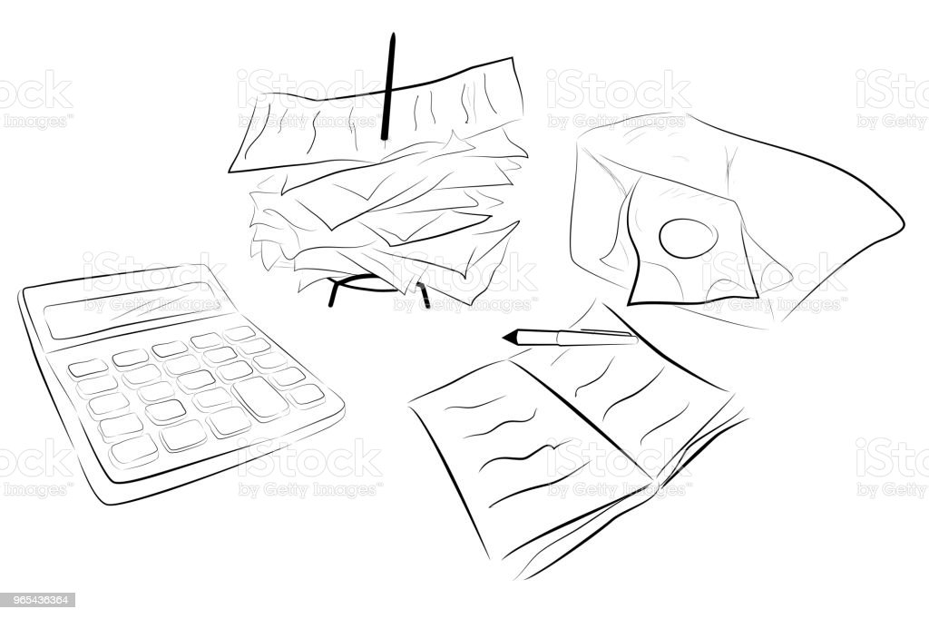 Illustration for Cost Control (calculator, stack of payment receipt and block note) royalty-free illustration for cost control stock vector art & more images of adding machine tape