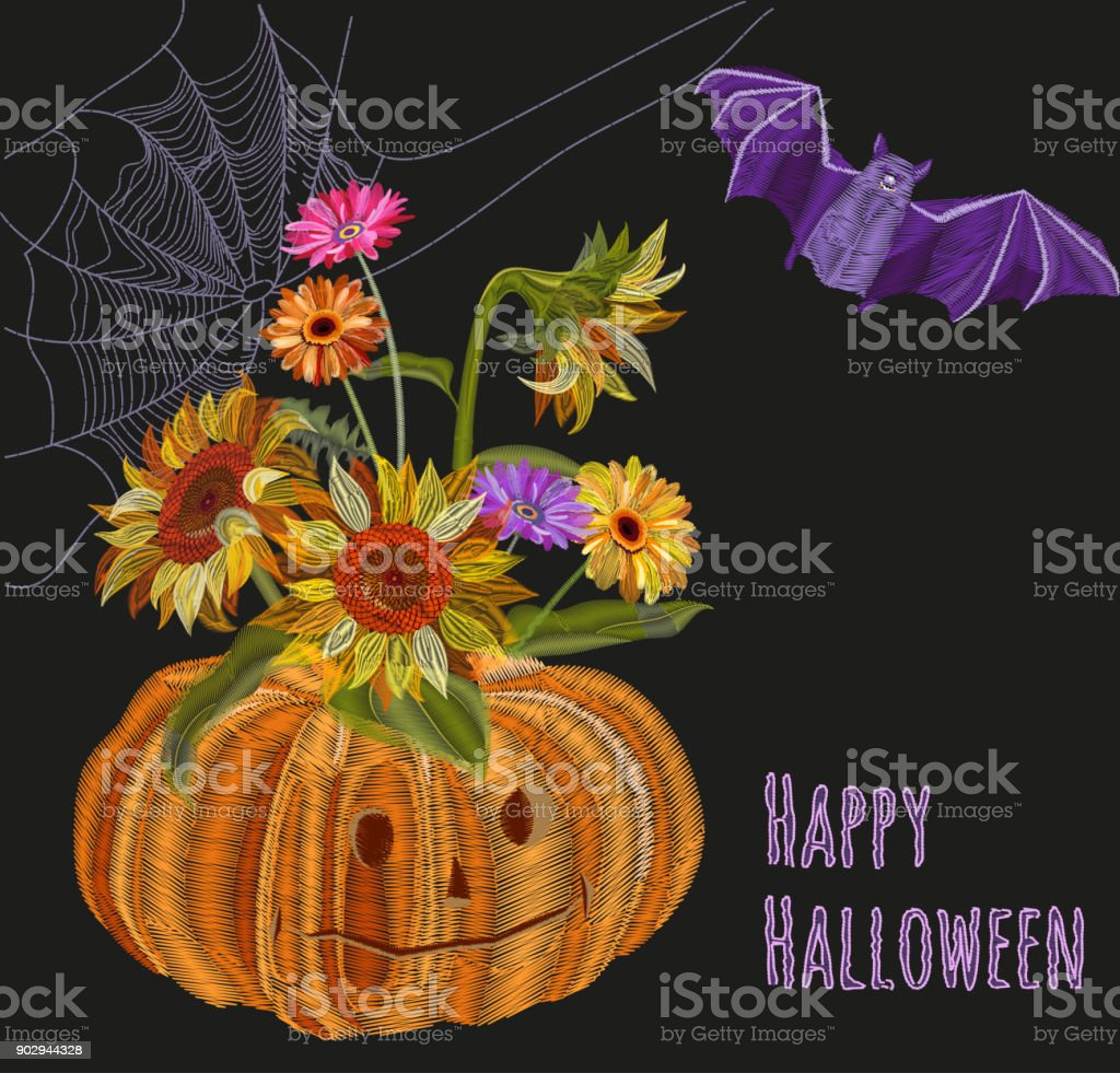 Ilustracion De Dibujo Halloween Calabaza Ramo Flores De Otono Sobre