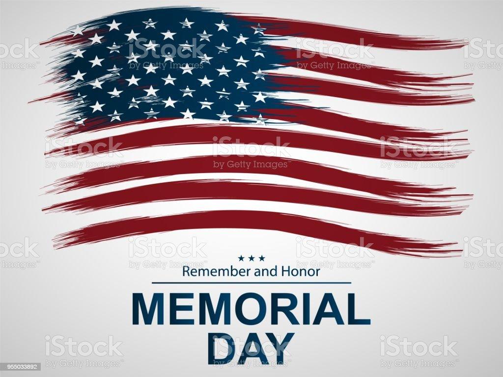 Illustration for Memorial Day.  Illustration with U.S. flag. vector art illustration