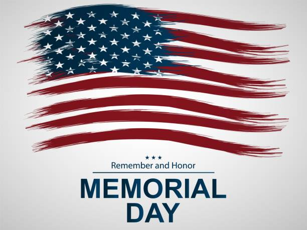 illustration for memorial day.  illustration with u.s. flag. - memorial day stock illustrations