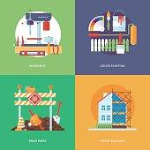 Illustration for metal workshop, color painting, road work, house building.
