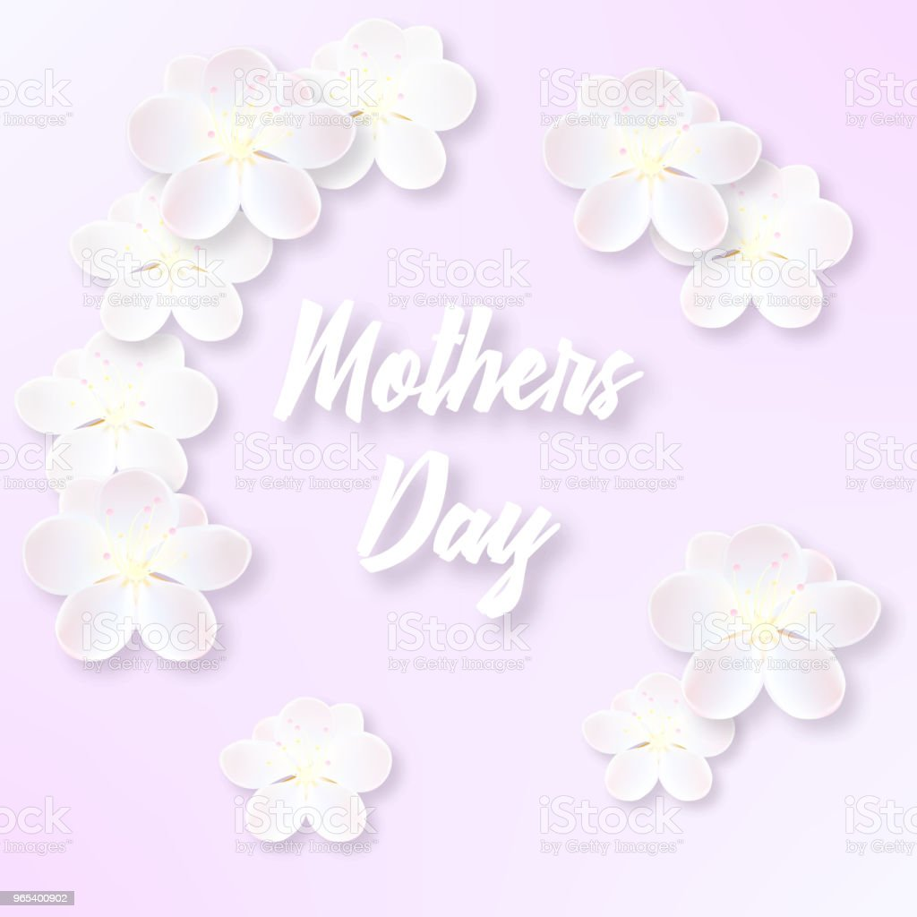 Illustration for Mother's Day with delicate sakura flowers royalty-free illustration for mothers day with delicate sakura flowers stock illustration - download image now