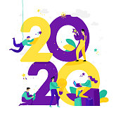 Illustration for the New Year 2020. Vector. People work around numbers. Businessmen celebrate Christmas. Employees in the office are going to celebrate. Flat style. Illustration for the calendar and site.