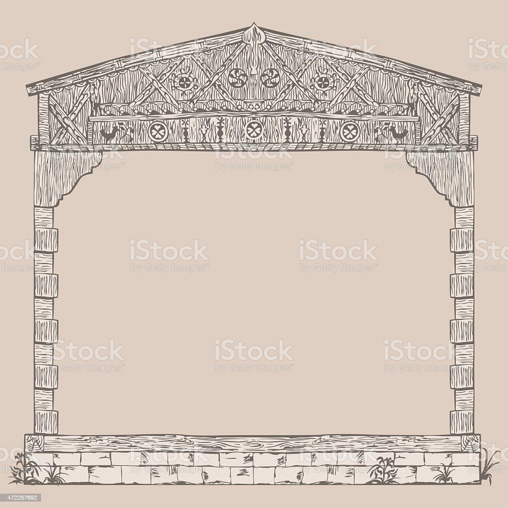 Illustration Rahmen Aus Holz Rahmung House Stock Vektor Art und mehr ...