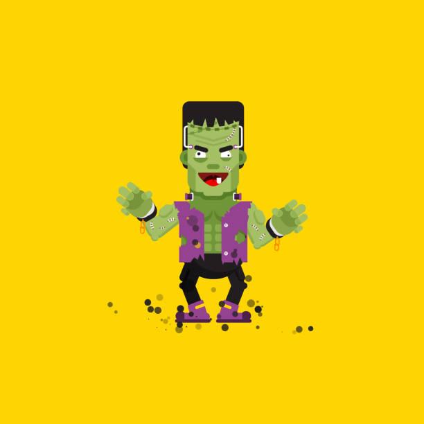 illustration frankensteins monster character for halloween in a flat style - frankenstein stock-grafiken, -clipart, -cartoons und -symbole