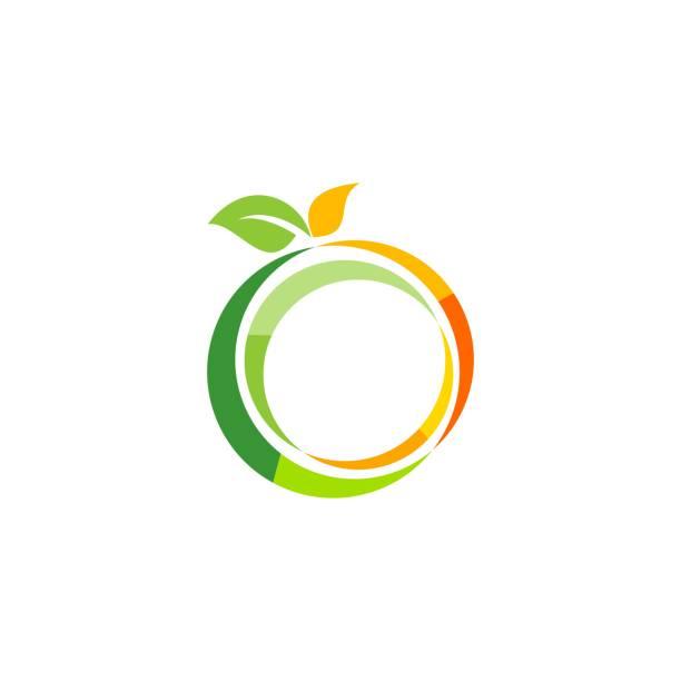 illustrazioni stock, clip art, cartoni animati e icone di tendenza di illustration fresh fruit logo symbol, nutrition apple fruit logo icon vector design - healthy green juice