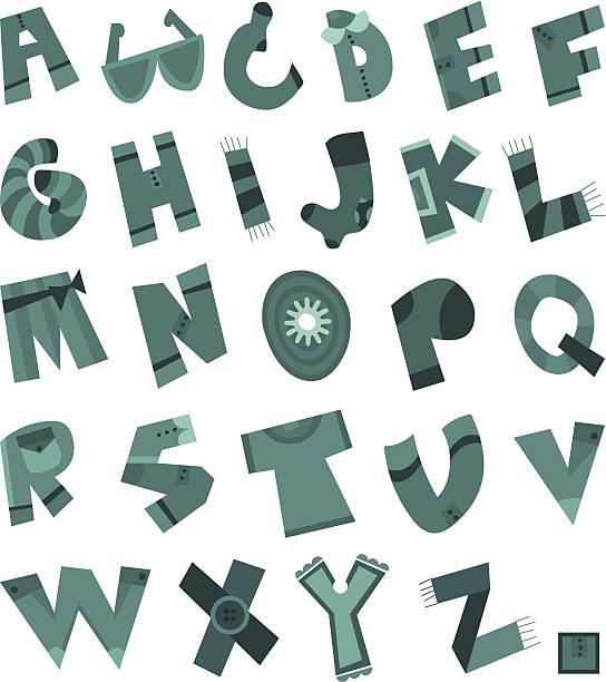 illustration lustige tuch alphabet - pastellhosen stock-grafiken, -clipart, -cartoons und -symbole