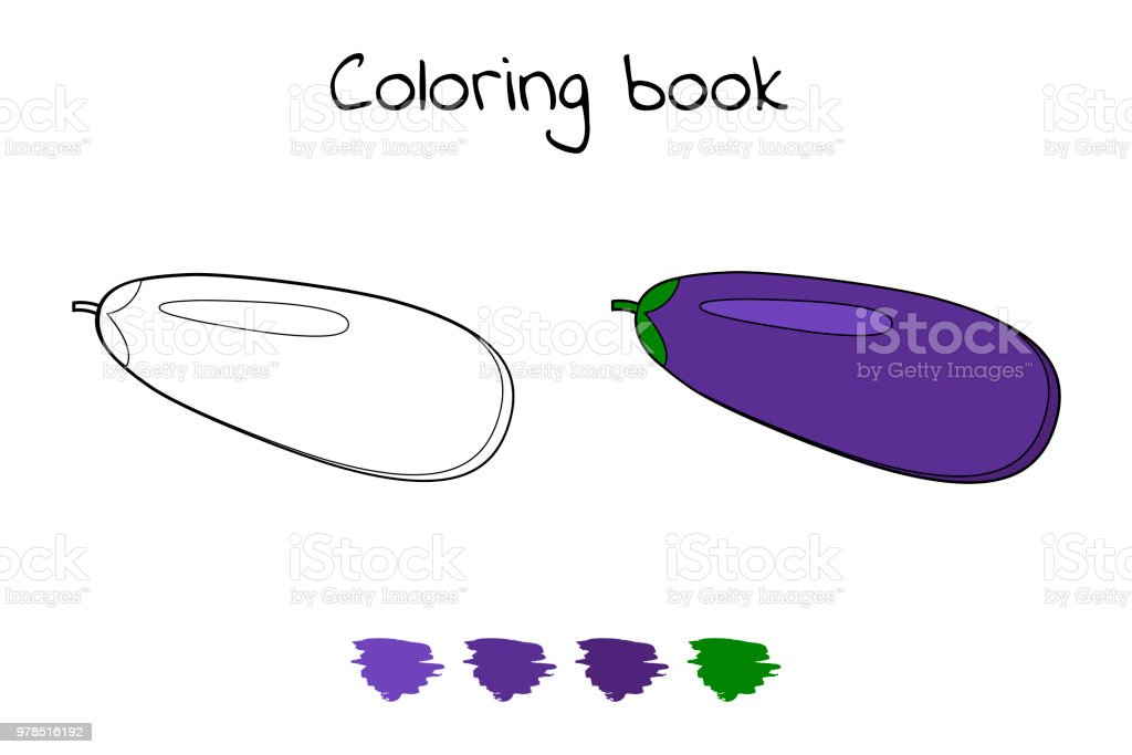 Illustration Game For Children Vegetable Coloring Page Eggplant Royalty Free
