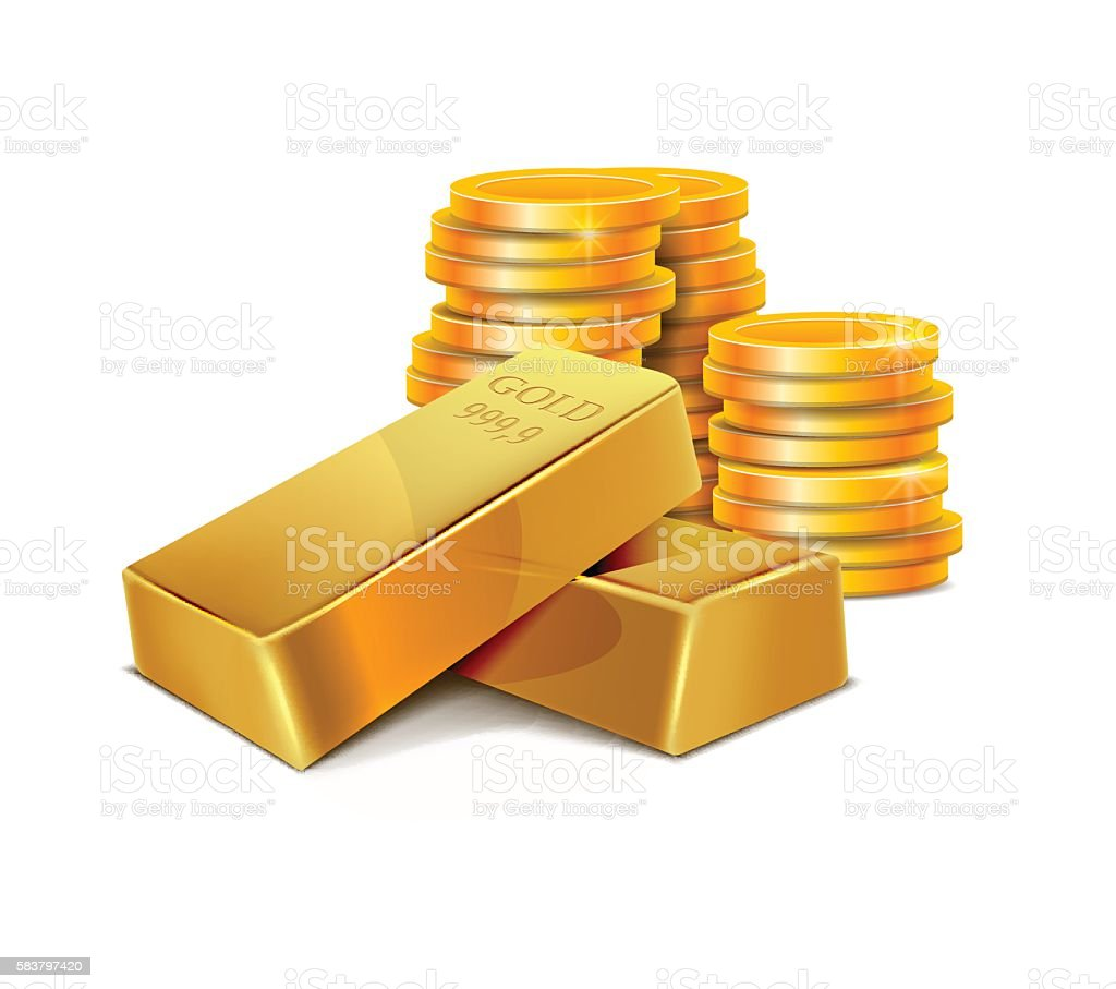 Illustration Gold Bars and Coins vector art illustration
