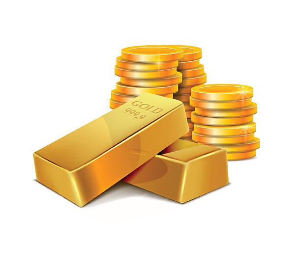 Illustration Gold Bars and Coins Illustration Gold Bars and Coins ingot stock illustrations