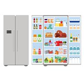 Illustration grey closed and opened refrigerator full of food -