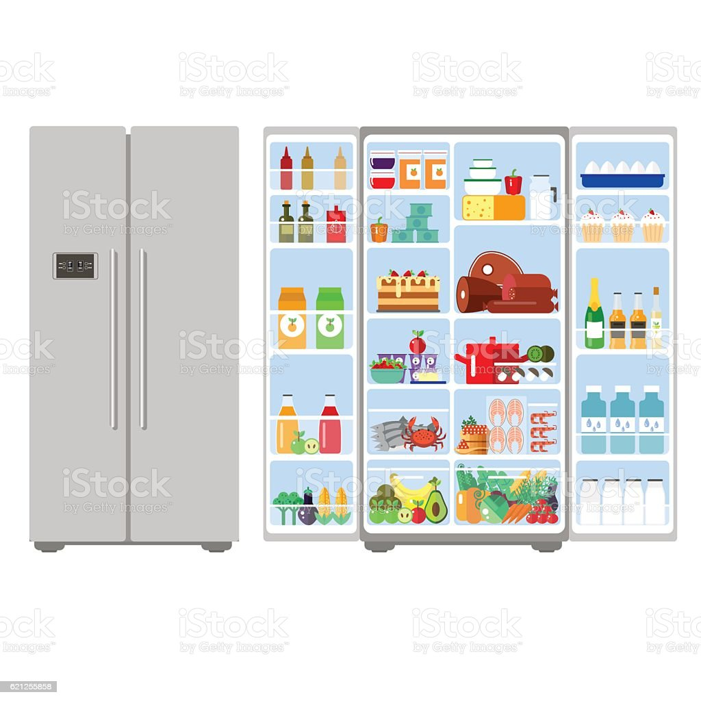 Illustration grey closed and opened refrigerator full of food - vector art illustration