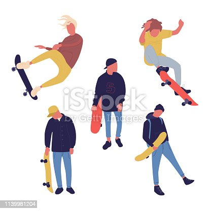 Illustration group of men with skateboard are doing different move. Teenagers culture. Vector.