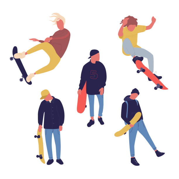 Illustration group of men with skateboard are doing different move. Teenagers culture. Illustration group of men with skateboard are doing different move. Teenagers culture. Vector. skateboard stock illustrations