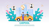 Illustration Guy and Girl in Yellow Car, Carpool. Vector Image Young Man Watching an Application Mobile Phone Search Fellow Traveler. Happy Woman Sitting Back Seat Car Waiting Trip. Against Cityscape