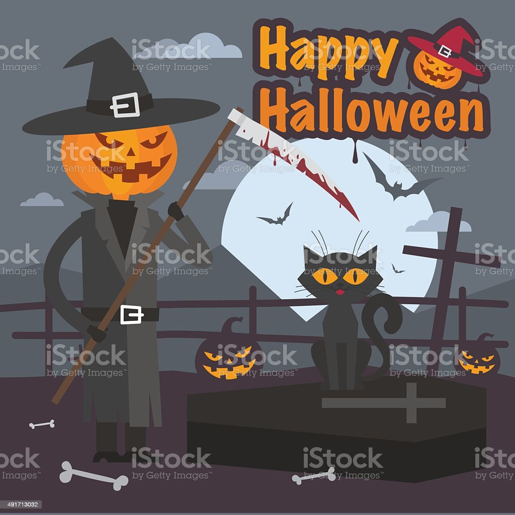 Illustration Halloween Pumpkin With Scythe And Cat Royalty Free